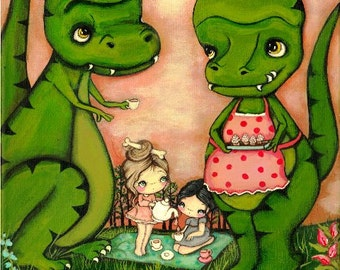 Dinosaur Original Painting Forest Girl T-Rex Whimsical Wall Art--- Tea Rex Party 11 x 14