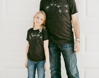 Father's Day Gift, Big Dipper Little Dipper Tshirt set, Father Son, Father Daughter, Dad and Baby T Shirt, Matching Shirts - TRI-BLEND BLACK
