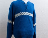 Vintage Fisherman Sweater / Large / Blue and White Knit / Size L-XL Button Neck