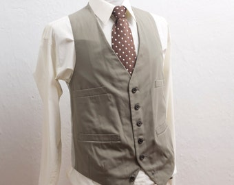 Men's Suit Vest / Vintage Grey-Green Waistcoat / Size 40 Medium