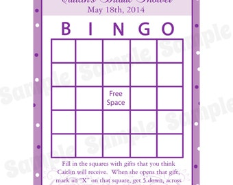 24 Personalized Bridal Shower Bingo Game Cards -  Modern Bride -   Purples - Wedding