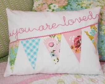 Personalized Pillow Cover, Pastel Nursery Pillow Cover, Toddler Pillow Cover, Crib Bedding Pillow, Bunting Pillow Cover, Name Pillow