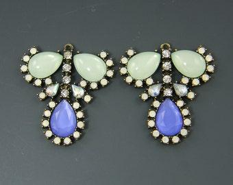 Chunky Rhinestone Pendant Celadon Green Translucent Blue Milky White Green Clear Rhinestone Antique Gold Teardrop Jewelry Component |GR4-4|2