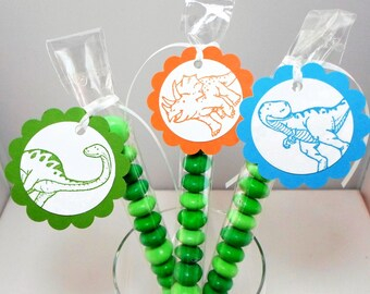 Dinosaur Party Favors - Dinosaur Birthday Favors - M&M Candy Bags and Tags - Dinosaur Tags, Candy Tubes, Treat Bags