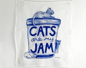 CLOSEOUT STYLE Cats are my Jam Tea Towel, funny cats, humor gift, gourmet for women gift for teacher Cat Lover Gift, mason jar humor cat mom