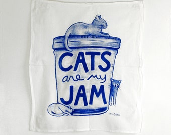 Cats are my Jam Tea Towel, funny cats, humor gift, mom gourmet for women gift for teacher Cat Lover Gift, mason jar humor, gift for cat mom