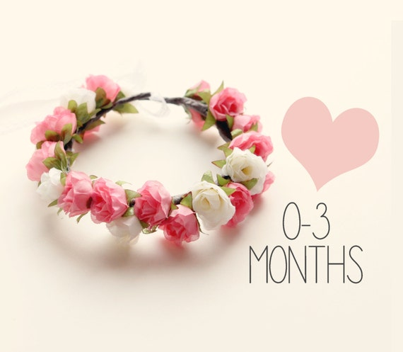 Baby flower crown, Tie back baby crown, Pink rose floral wreath, Newborn Photo Prop, Photography prop, Infant floral headband (0-3 months)