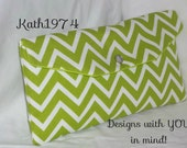 Bridesmaid Clutch / SALE / Fold Over Envelope Clutch/Premier Prints- Cosmo Chevron in Chartreuse & White/Bridesmaid Gift