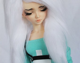"BJD wig MSD 7"" wig White long in front fake fur wig MonstroDesigns"