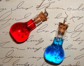 Pair of Health and Mana Potion Earrings - Sterling Silver