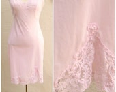 Vintage lace dress slip / PINK baby doll slip / sexy lace trim 34 bust xs-small