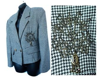 Houndstooth Wool Jacket, Women's Vintage Embroidered Blazer by NILE Made in Turkey