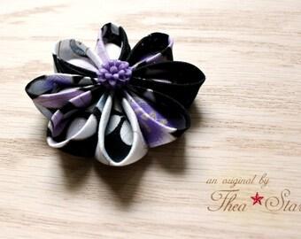 Black and Purple Floral Kanzashi Flower Hair Clip