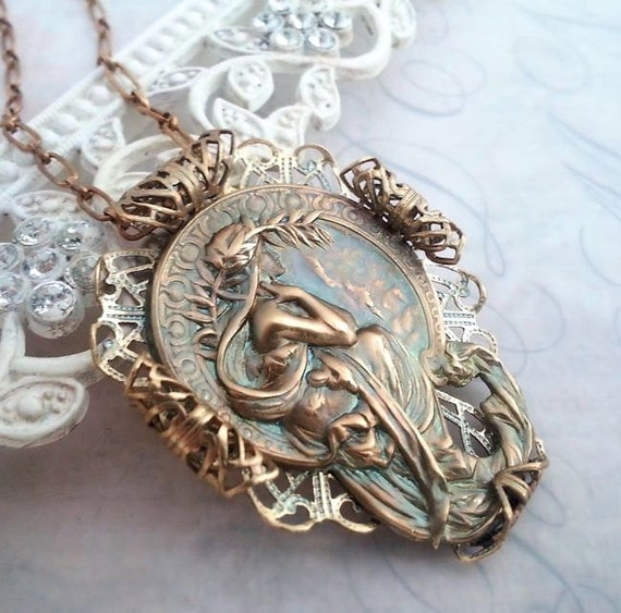 Alphonse Mucha's Poetry necklace Mucha necklace Mucha jewelry, statement necklace filigree jewelry bronze pendant Art Nouveau werarable art