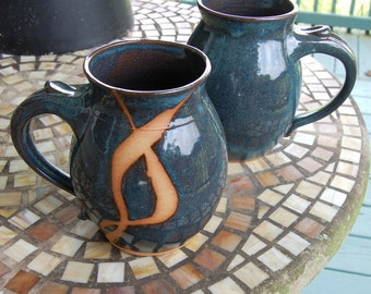 Huge Monster Mug in Slate and Rust Chain - Made to Order