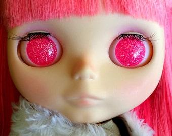 Bubblegum Neon Pink Resin Glitter Eye Chips for Blythe or Byul
