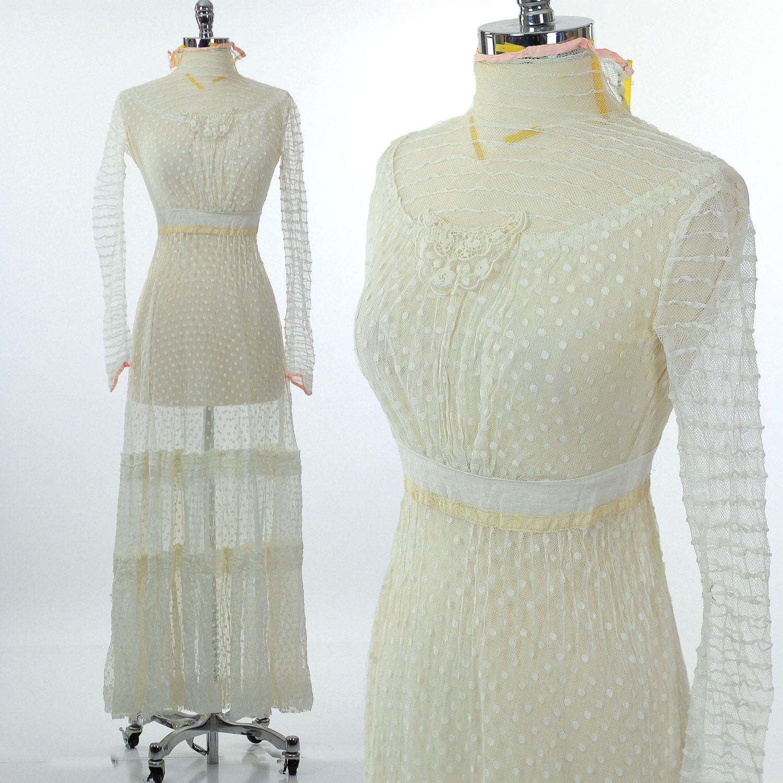 Antique Victorian dress Vintage tea gown Victorian sheer net