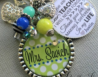 Personalized teacher gift, end of year gift, teacher appreciation, You have made a difference, rhinestone apple, teacher I will never forget