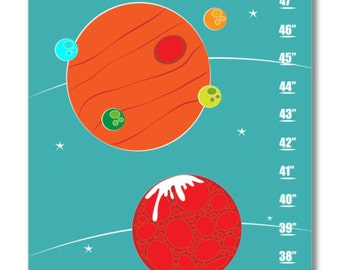Children's Growth Chart - Nursery Art - Solar System Personalized with Child's Name Blue Growth Chart