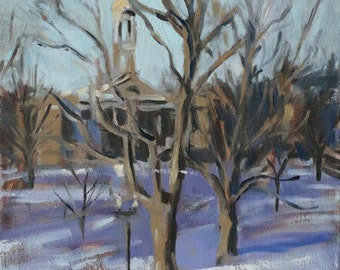 Winter Landscape Oil Painting on canvas - 16 x 20 by Michelle Arnold Paine - Canvas Wall Art