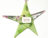 """LOVE Valentine Ornament/ Fused Glass """"Wishing Star"""" by Susan Faye"""
