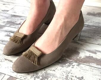 Vintage Salvatore Ferragamo Shoes Taupe Suede - Size 10 AAA - Mushroom