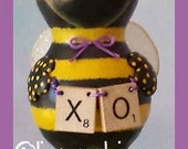hand painted sculpted bumble bee gourd QUEENIE prim chick lisa robinson HAFAIR OFG
