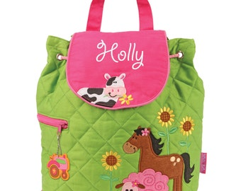 Girls Backpack Farm Stephen Joseph Personalized Quilted Preschool Toddler