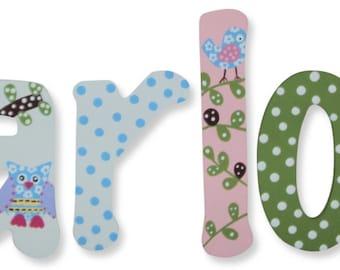 Custom Hand Painted Nursery Letters Nursery Wall Hanging Letters Wood Nursery Letters Name Nursery Decor M2M PBK Hayley Haley Owl Nursery