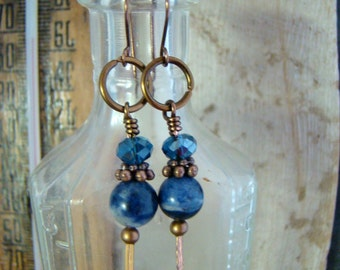 SALE Natural Blue Sodalite Dangle Earrings w Crystals Anique Bronze Handmade Earwires  1.99 SHIPPING USA