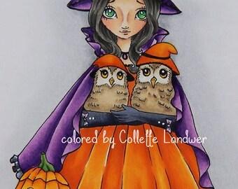 Hallo' Owlie - Digital Stamp Instant Download / Halloween Owl Lil Sweetie Mia by Ching-Chou Kuik