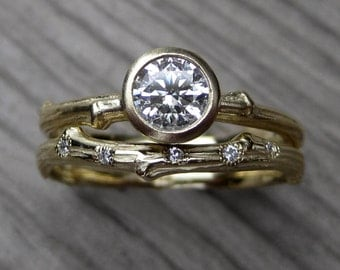 Moissanite Twig Engagement & Wedding Ring Set: Forever Brilliant™ and Scattered Diamond Band