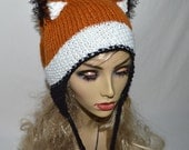 Fox Hat Knit Fox Ears Stocking Cap with Ear Flaps and Fox Tail - Girls and Adult Fox Ears Slouchy Hat