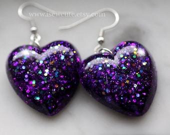 Dangle Earrings, Purple Heart Earrings, Resin Earrings, Dangly Heart Earrings, Resin Jewelry, Glittery Heart Earrings, Handmade by isewcute