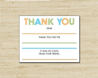 Laser Tag Fill In Thank You Cards  - 10 kids Lazer Tag blank note cards