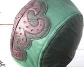Green Leather Skullcap Headwrap Doorag with Purple Filligree Design on Front Unisex
