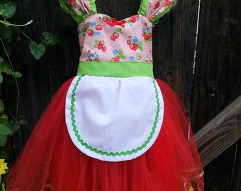 Strawberry Shortcake dress retro STRAWBERRY tutu  dress great for a special occasion halloween costume or birthday party