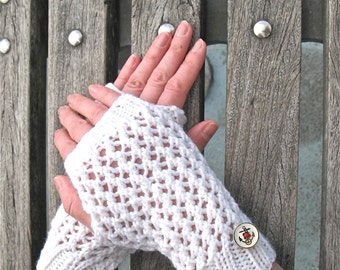 Women's Hand Knit Fingerless Gloves White Merino Wool Gloves with Anchor Buttons - Hand Warmers - Miss Sailorette Series - Ready to Ship