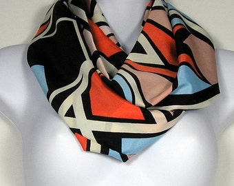 Fashion Scarf Infinity Scarves Womens Infinity Scarves Black White Blue Orange Poly Silk Circle Scarf Womans Fashion Scarf  Poly Silk Cowls