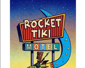 Rocket Tiki Googie Sign- 11 x 14 Signed print