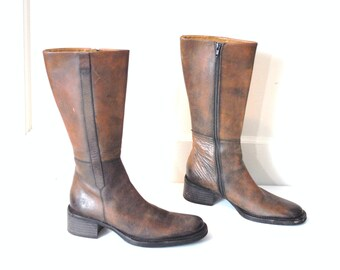 size 7 TALL brown leather boots / vintage early 90s MINIMALIST chunky heel POINTY toe riding boots