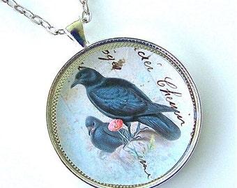 Black Raven Mother & Child Baby Bird Victorian Pendant