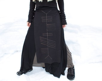Crone Ogham Stained Panel Skirt Loin Cloth Made to Order