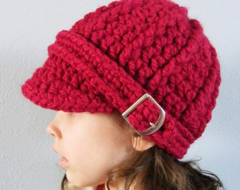 Toddler Hat 1T to 2T Toddler Girl Hat Toddler Boy Hat Cranberry Red Toddler Hat Chunky Crochet Winter Hat Warm Toddler Beanie Trendy Buckle