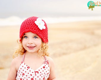 9 Sizes Red Girls Hat Baby Hat Baby Girl Hat Toddler Hat Toddler Girl Hat Womens Hat Crochet Flower Hat Flapper Beanie Flapper Hat 30 Colors