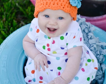 9 Sizes Orange Girl Hat Baby Girl Hat Baby Hat Toddler Girl Hat Toddler Hat Womens Hat Crochet Flower Hat Flapper Beanie 30 Flower Colors
