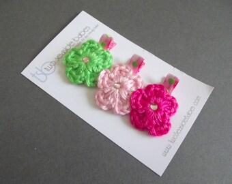 Pink and Green Hair Clips Crochet Flower Hair Clip Lime Green Hair Clip Light Pink Hair Clip Hot Pink Hair Clip Polka Dot Hair Clips