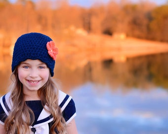 9 Sizes Navy Blue Hat Baby Hat Baby Girl Hat Toddler Hat Toddler Girl Hat Womens Hat 30 Flower Colors Baby Beanie Toddler Beanie Womens