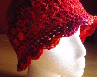Hand Crochet Hat - Multi-Red, Orange, Pink, Purple - Adult Size L