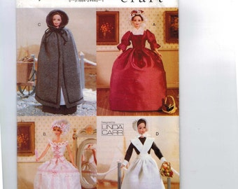 Doll Sewing Pattern Vogue 677 11 1/2 Inch Doll Barbie 18th Century Colonial Cloak Fashion Historical Pilgrim Costume Williamsburg UNCUT